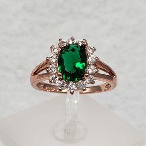 18k Rose Gold Emerald Ring